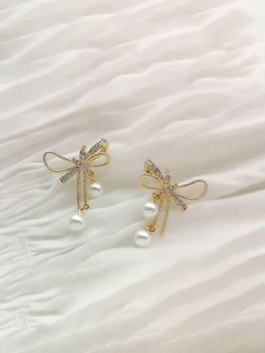 Brass Cubic Zirconia Bowknot Dainty Stud Earring