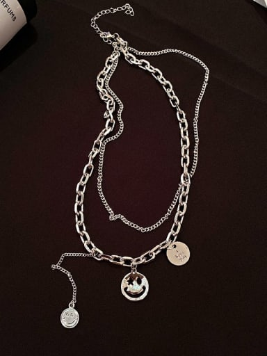 Brass Locket Hip Hop Multi Strand Smile Face 52cm Necklace