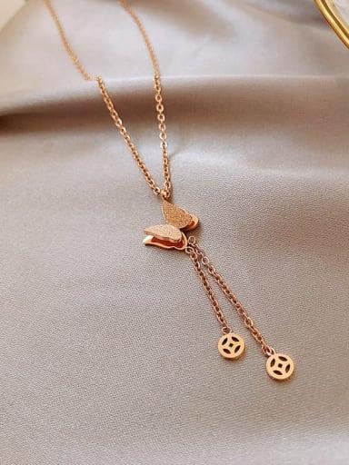 Titanium Tassel Trend butterfly Lariat Necklace