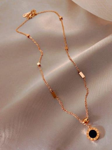 Titanium  Black enamel Round Classic Necklace