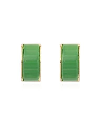 green Copper Cats Eye Geometric Minimalist Stud Earring