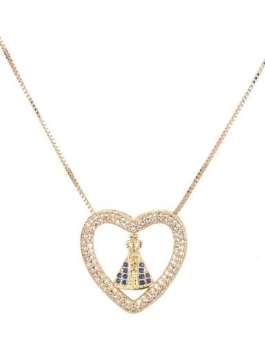 Brass Cubic Zirconia Heart Vintage Regligious Necklace