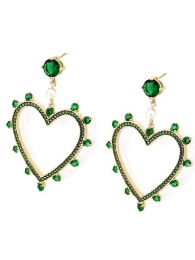 Gold Plated green zirconium Brass Rhinestone Heart Minimalist Drop Earring
