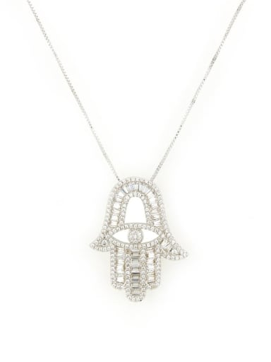platinum Brass Cubic Zirconia Hand Of Gold Dainty Necklace