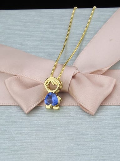 Blue zirconium boy Brass Cubic Zirconia Angel Minimalist Initials Necklace