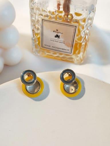 14K  gold  yellow Copper Enamel Geometric Minimalist Drop Earring