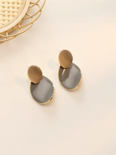 14K  gold grey Copper Enamel Geometric Minimalist Drop Earring