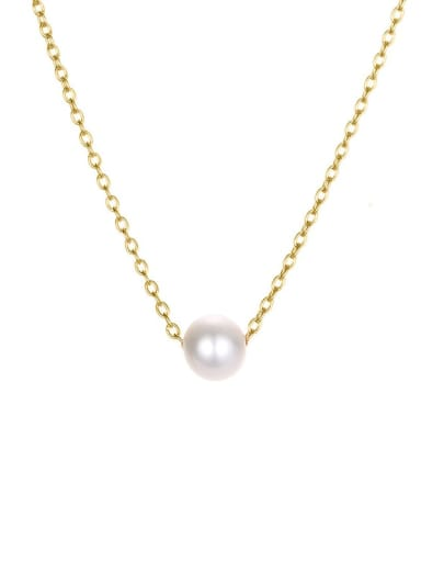 golden Stainless steel Imitation Pearl Round Minimalist Necklace