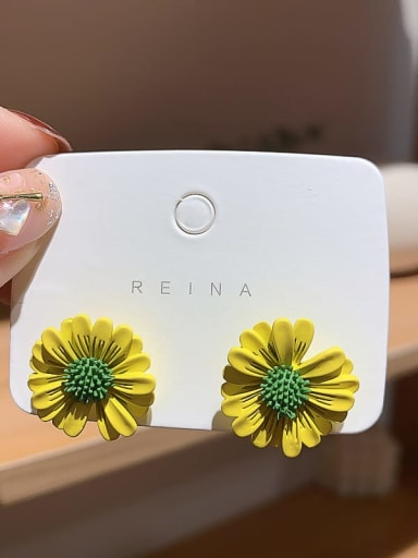 yellow Iron Enamel Flower Trend Stud Earring