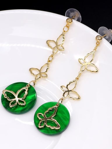 green Copper Acrylic Butterfly Ethnic Threader Earring