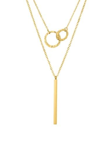 golden Stainless steel rectangle Minimalist Lariat Necklace