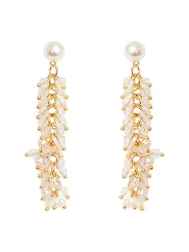 Brass bead tassel Dainty long Clip Earring