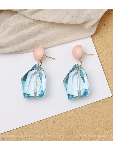 sky blue Copper Crystal Geometric Dainty Drop Earring