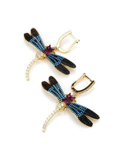 Dragonfly Earrings Brass Dragonfly Cubic Zirconia Earring and Necklace Set