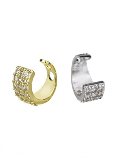 Brass Cubic Zirconia Round Vintage Clip Earring