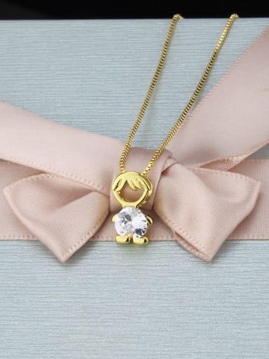 White zirconium boy Brass Cubic Zirconia Angel Minimalist Initials Necklace