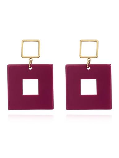 Purplish red Copper Acrylic Geometric Minimalist Drop Earring