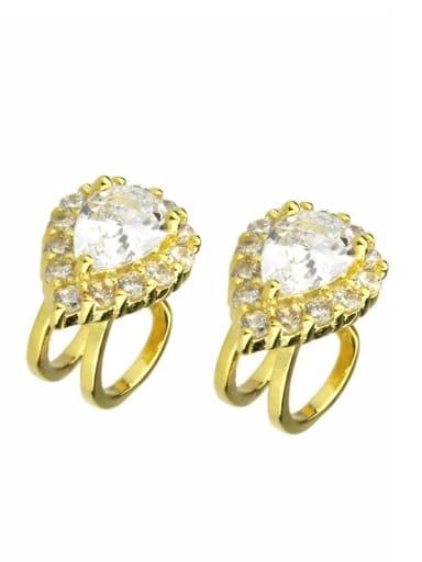 gold-plated Brass  Water Drop Cubic Zirconia  Luxury Clip Earring