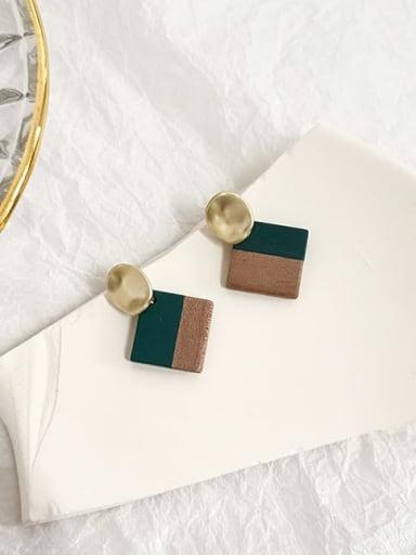 green Copper Shell Geometric Minimalist Drop Earring