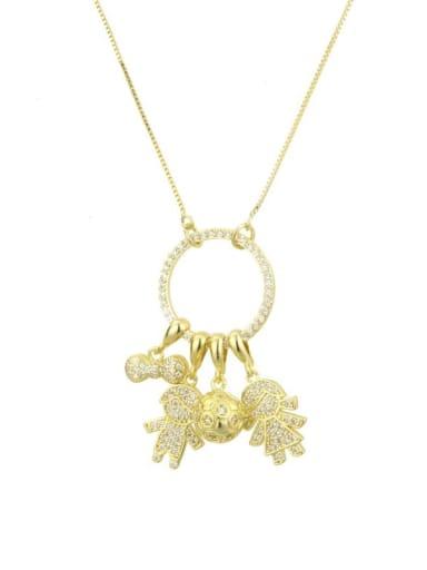 Boys and girls Brass Cubic Zirconia White Key Dainty Necklace