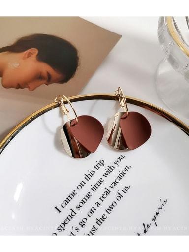 Deep coffee Copper Enamel Geometric Minimalist Huggie Earring