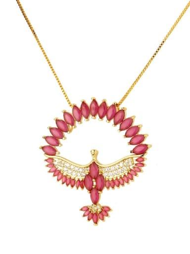 gules Brass Cubic Zirconia Religious Bird Dainty Necklace