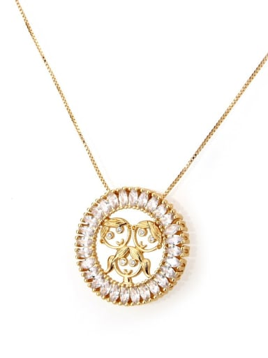 Men and women Brass Cubic Zirconia Round Cute Girl Pendant Necklace