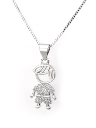 Platinum plated boy Brass Cubic Zirconia Cute Necklace