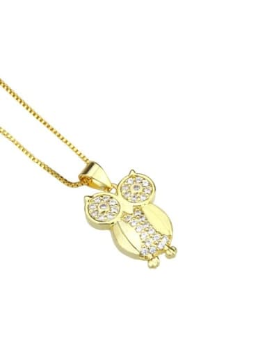 gold-plated Brass Cubic Zirconia Owl Cute Necklace
