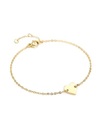golden Stainless steel Heart Minimalist Bracelet