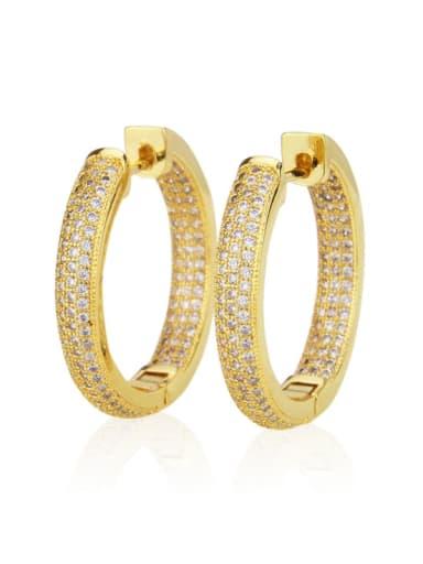 Gold plated white zirconium Brass Cubic Zirconia Round Minimalist Hoop Earring