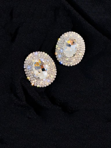 Alloy Cubic Zirconia Round Statement Cluster Earring