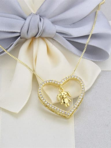 Gilded girl Brass Cubic Zirconia Hollow Heart Dainty Pendant Necklace