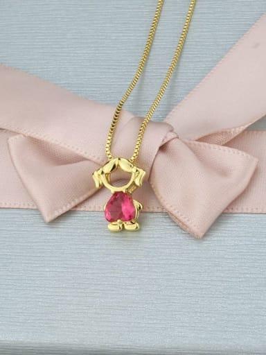 Red zirconium girl Brass Cubic Zirconia Angel Minimalist Initials Necklace