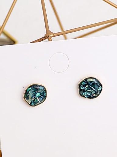blue Copper Opal Geometric Dainty Stud Earring
