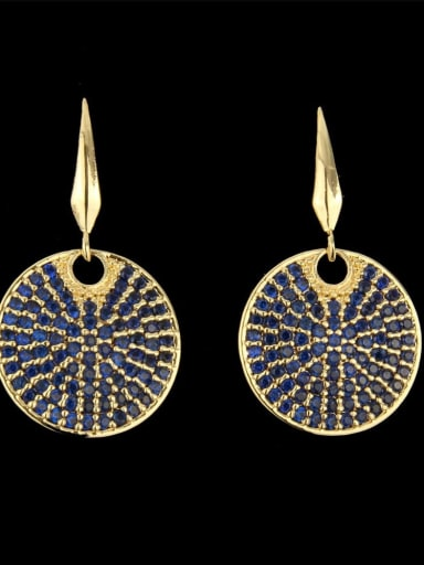 Gold Plated blue Brass Cubic Zirconia Round Dainty Hook Earring