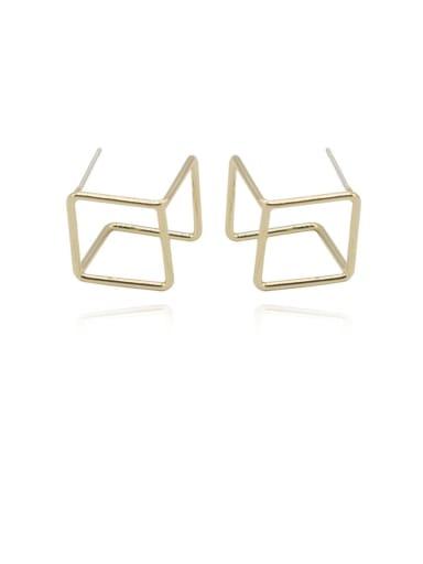 Copper Hollow Square Minimalist Stud Earring
