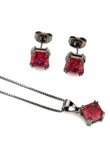 Black Plated Red zircon Brass Square Cubic Zirconia Earring and Necklace Set