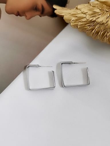 white K Copper Geometric Minimalist Stud Earring