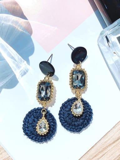 blue Mixed Metal Rhinestone Black Geometric Trend Drop Earring