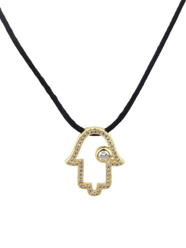 Brass Cubic Zirconia Leather Hand Of Gold Minimalist Necklace