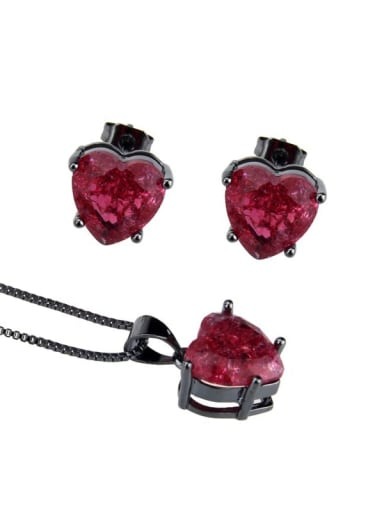 Brass  Cubic Zirconia Heart  Earring and Necklace Set