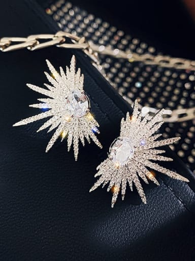 Alloy Cubic Zirconia Star Statement Cluster Earring