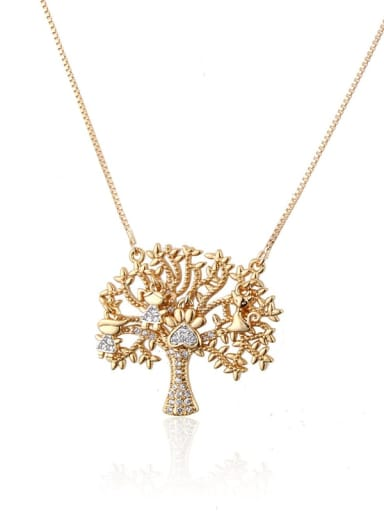 Brass Cubic Zirconia Tree Trend Necklace