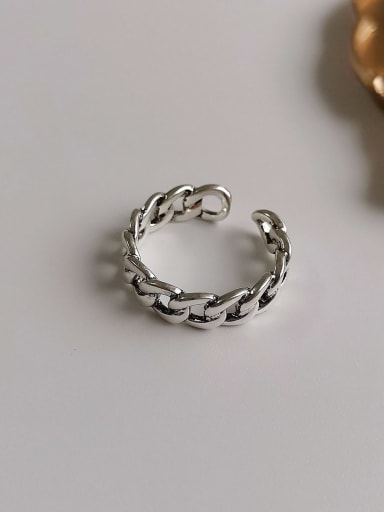 Ancient silver Copper Retro Hollow  Geometric Chain  Free Size Band Ring