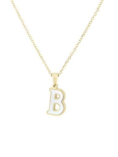 B Steinless steel shell minimalist 26 letter Pendant Necklace