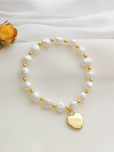 Copper Imitation Pearl Heart Dainty Beaded Bracelet
