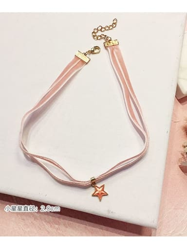 Pink Star Double Zinc Alloy Blue Ball Classic Choker Necklace