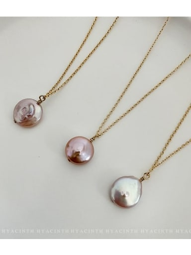 Zinc Alloy Freshwater Pearl White Geometric Trend Necklace