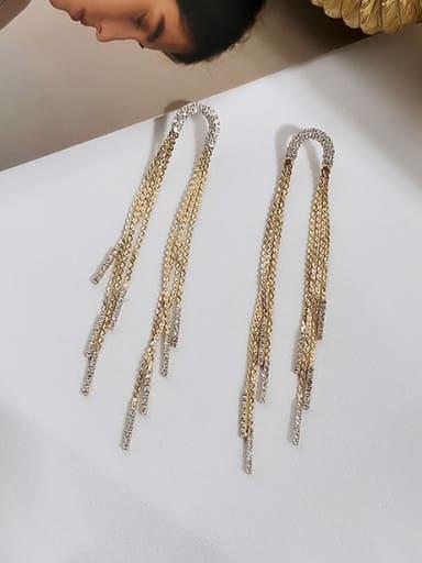 14K gold Copper Tassel Ethnic Threader Earring